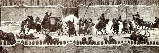 Recreación que muestra el asesinato del zar Alejandro II, en 1881