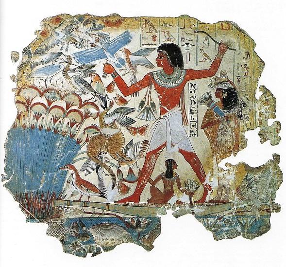 Escena de caza en los pantanos. Necrópolis de Cheikh. Actualmente expuesta en el Museo Británico