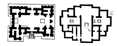 A la izquierda, templo de Eridú 7 el Ubaid tardío. A la derecha, modelo de casa del periodo de Ubaid