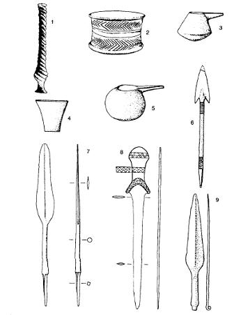 Algunos de los objetos de las primeras producciones metalúrgicas, del periodo del Ubaid III