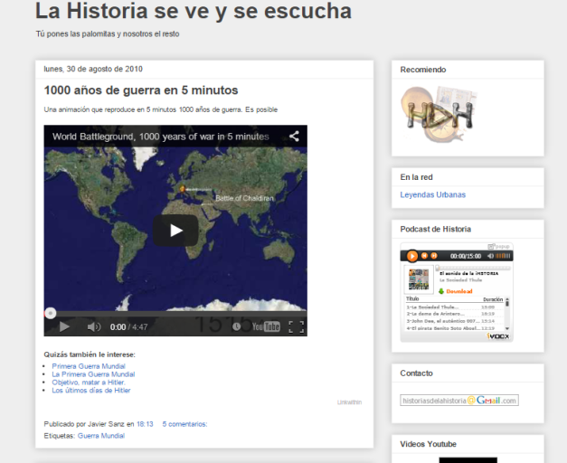 Captura de pantalla de este gran blog audiovisual para aprender Historia