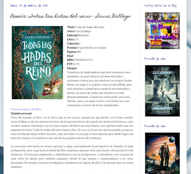 Captura de pantalla de una de las reseñas de este magnífico blog literario