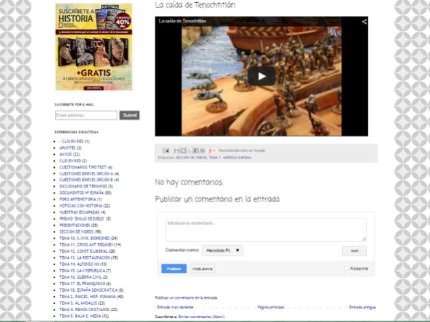 Captura de pantalla de uno de los artículos de este gran blog de Historia de España