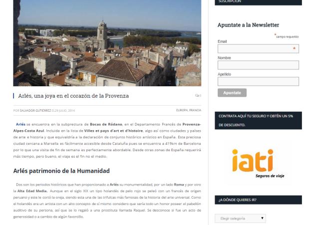 Captura de pantalla de uno de los artículos de este gran blog de viajes por el mundo
