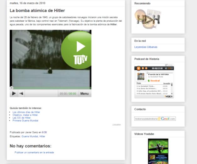 Captura de pantalla de uno de los vídeos de este blog de Historia