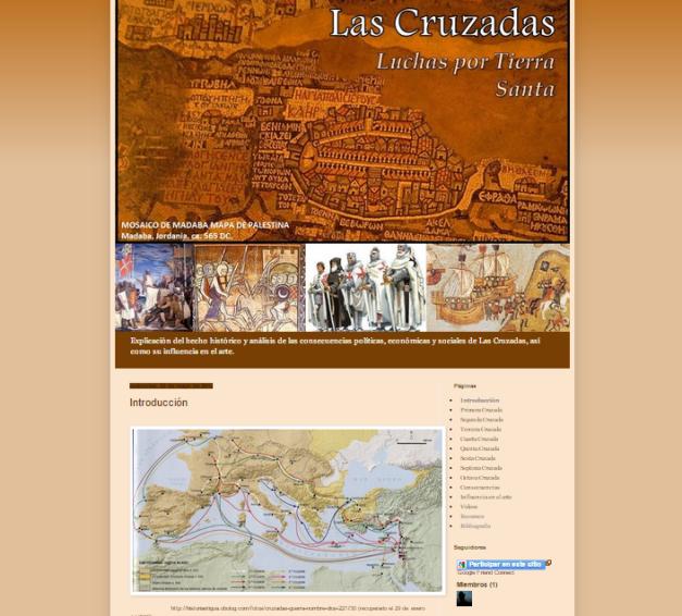 Captura de pantalla general de este gran blog de Historia de las Cruzadas a Tierra Santa