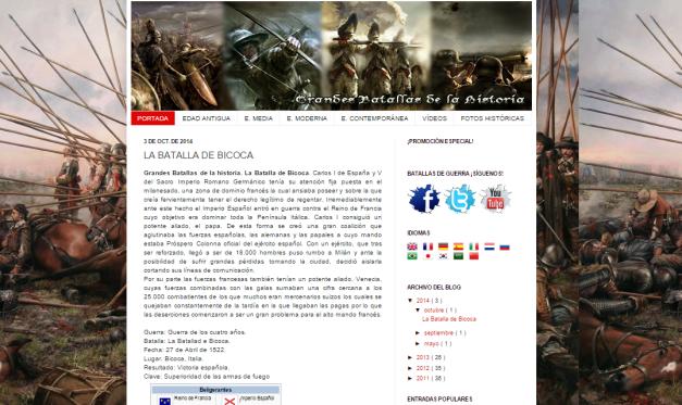 Captura de pantalla general de este gran blog de las grandes batallas históricas