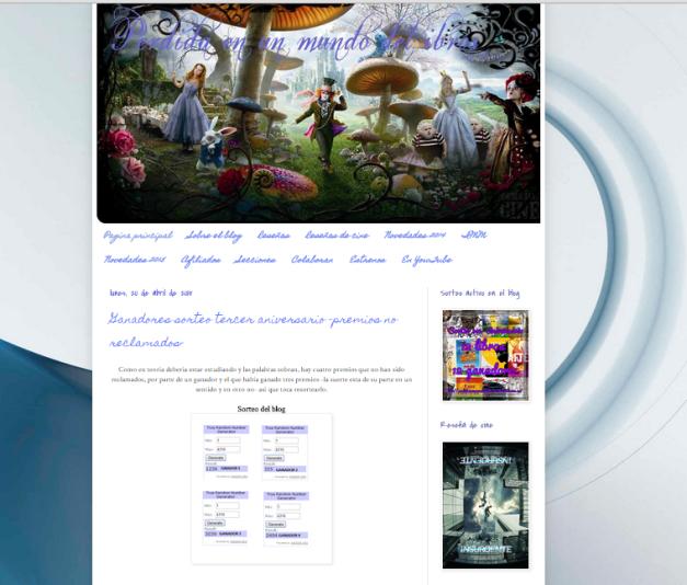 Captura de pantalla general de este grandísimo blog de reseñas literaris