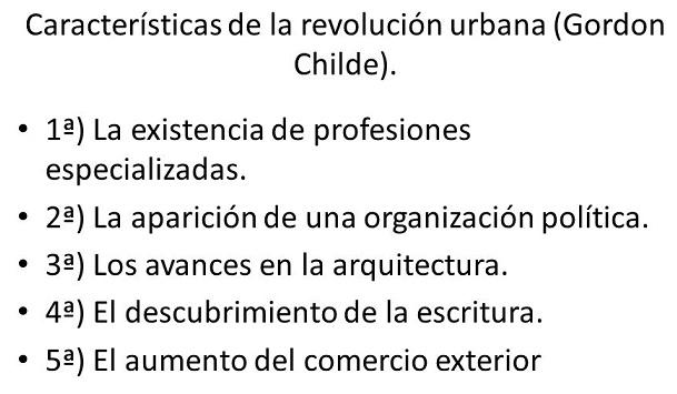 Características de la revolución urbana según Gordon Childe