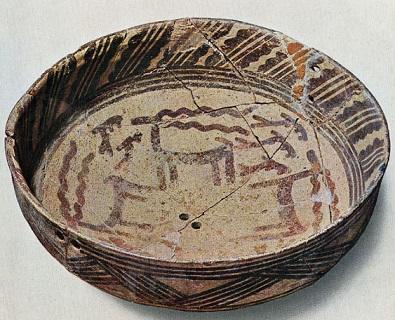 Cerámica hallada de principios de la cultura Hassuna (5500 a.C.)