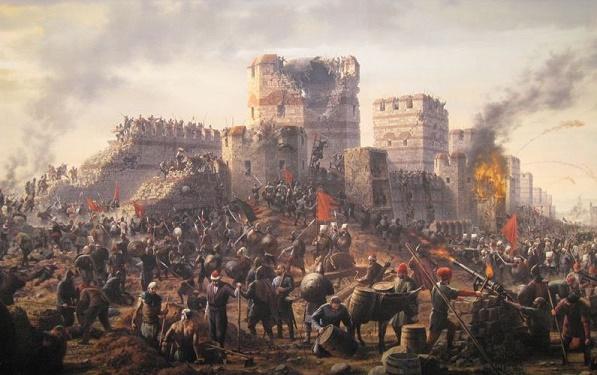 Cuadro que muestra la caída de Constantinopla, en 1453
