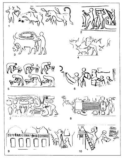 Distintas escenas de trabajos que encontramos en la glíptica del periodo de Uruk