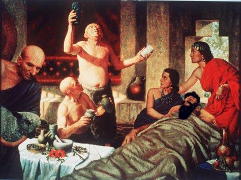 Escena que recrearía la medicina en la Antigua Mesopotamia