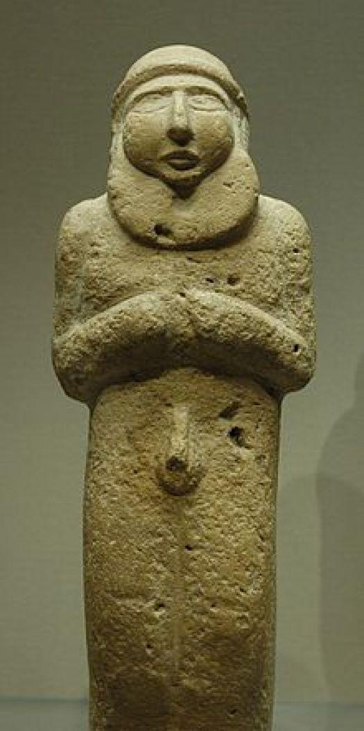 Estatuilla de un hombre barbudo correspondiente al Uruk Tardío