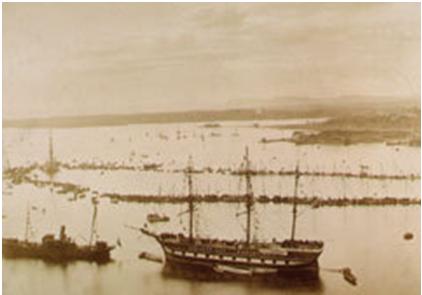 Fotografía del regreso del barco Fram a Noruega