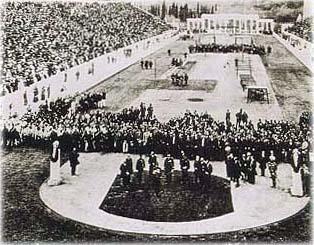 Fotografía histórica de la ceremonia de apertura de los Juegos Olímpicos de Atenas de 1896