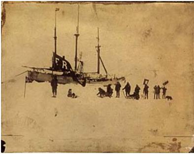 Fotografía que muestra al barco Fram en el que se embarcó Nansen