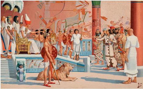 Idealizada escena que muestra a Ramsés II recibiendo a la comitiva de los hititas