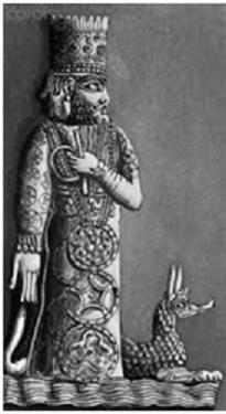 Imagen en relieve del dios Marduk con su dragón