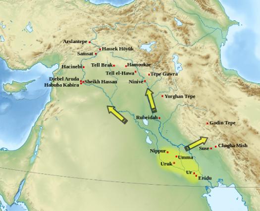 Mapa del periodo de Uruk en la Baja y Alta Mesopotamia, y el este anatólico