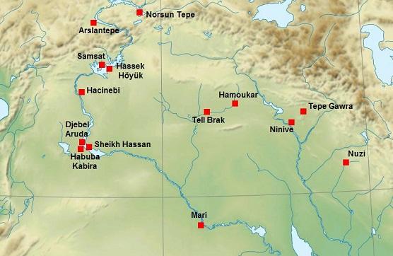 Mapa más detallado de los yacimientos del periodo de Gawra