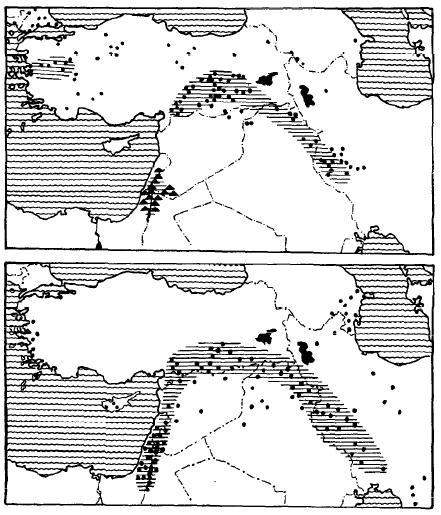 Mapa que muestra el hábitat originario de los primeros cereales cultivados, en la zona del Creciente Fértil (Liverani, 2012)