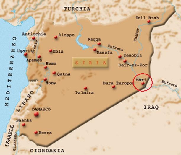 Mapa que ubica la ciudad siria de Mari, donde se halló el más antiguo centro de educación en la antigua Mesopotamia
