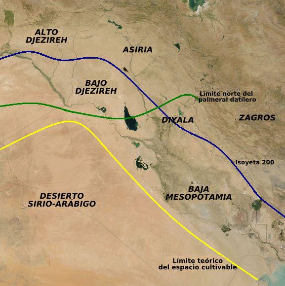 Mapa que muestra las principales regiones agrícolas de la Antigua Mesopotamia