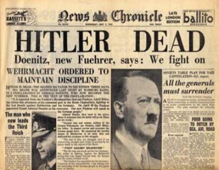 Periódico que muestra la noticia de la muerte de Hitler