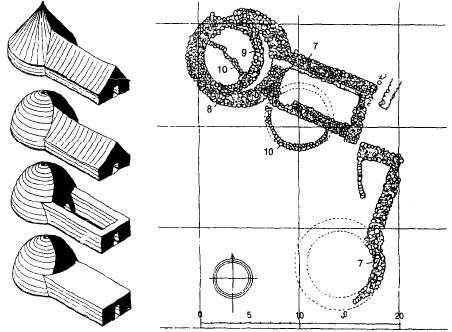 Planta y reconstrucción de tholoi de la cultura Halaf