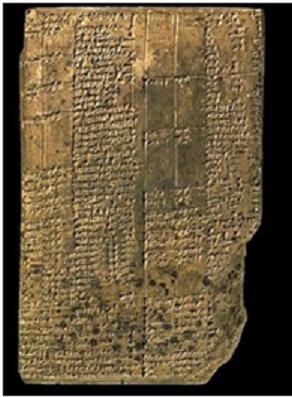 Tablilla de un palacio mesopotámico con escritura cuneiforme