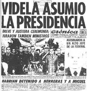 Periódico del día de la llegada de Videla al poder