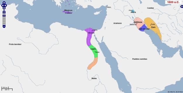 Contexto internacional durante el periodo de ocupación de los hyksos de Egipto (Sacado de Geacron)