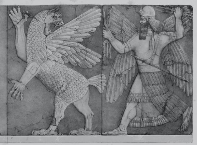 Altorrelieve en el que el dios Marduk persigue a Anzú, dios menor de las tormentas