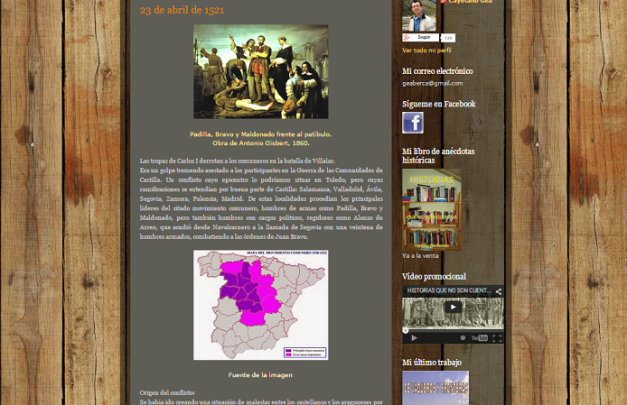 Captura de pantalla de uno de los artículos de este gran blog de Historia y cultura en general