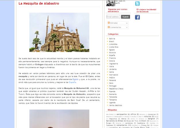 Captura de pantalla de uno de los artículos de este gran blog de viajes con Historia