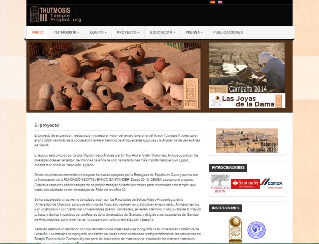 Captura de pantalla general de este blog para todos los amantes de la egiptología