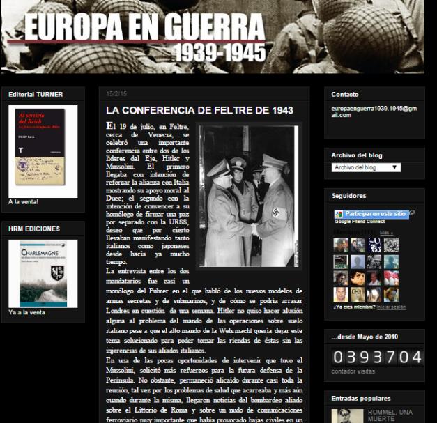 Captura de pantalla general de este gran blog de Historia de la segunda guerra mundial