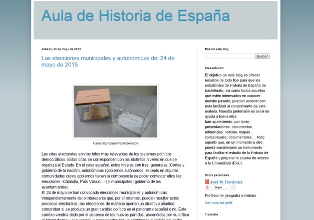 Captura de pantalla general de este gran blog de Historia