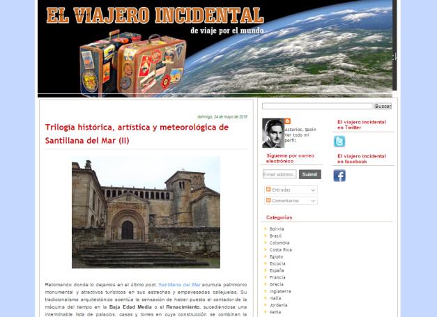 Captura de pantalla general de este gran blog de viajes con Historia