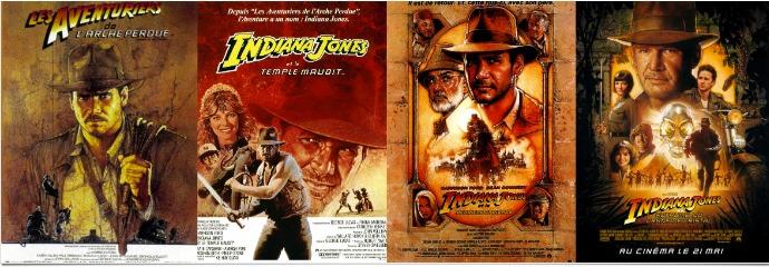 Carteles de las cuatro películas de Indiana Jones