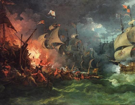 Cuadro de finales del s.XVIII que representa la derrota de la Gran Armada