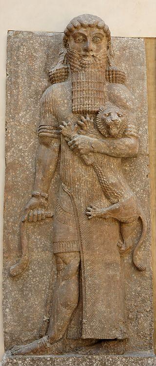 Altorrelieve de Gilgamesh hallada en el palacio de Sargón II