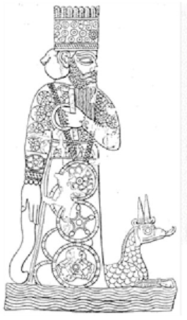 Imagen del dios Marduk y ejemplo de un zigurat
