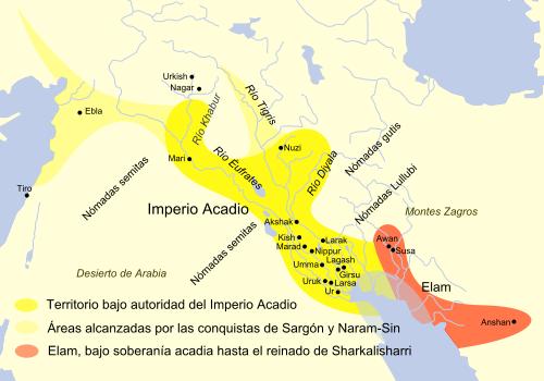 Mapa que muestra la extensión del imperio de Akkad
