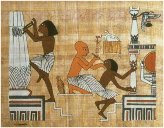 Médico egipcio tratando una enfermedad ocular