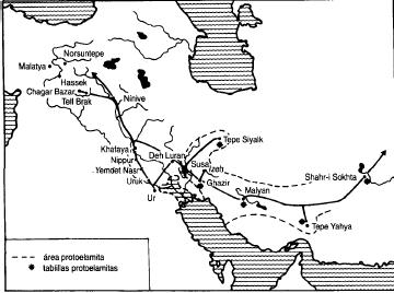 Rutas comerciales durante los primeros siglos de la Edad del Bronce Antiguo (Liverani, 2012)