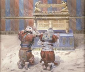 Cuadro de Tissot en el que se ve a Moisés y Josué con el Arca de la Alianza