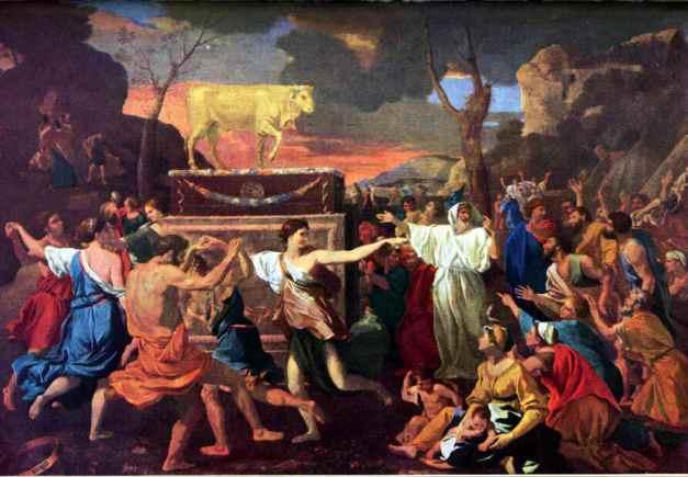 Adoración del becerro de oro por Nicolas Poussin