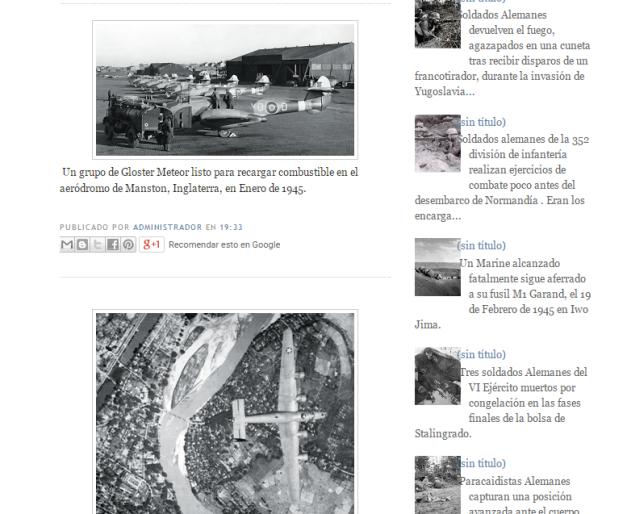 Captura de pantalla de dos de los post de esta gran biblioteca de imágenes de la II GM